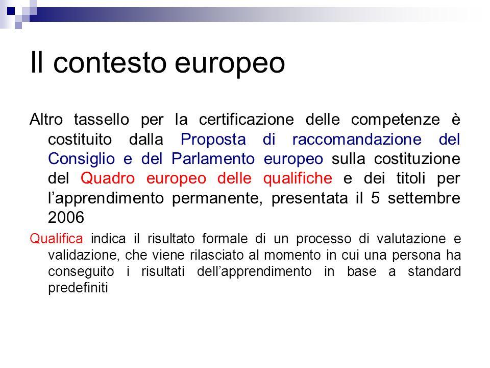 Il contesto europeo Altro tassello per la certificazione delle competenze è costituito dalla Proposta di raccomandazione del Consiglio e del Parlament
