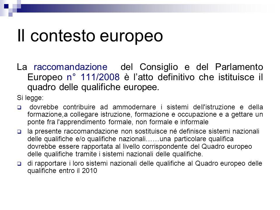 Il contesto europeo La raccomandazione del Consiglio e del Parlamento Europeo n° 111/2008 è latto definitivo che istituisce il quadro delle qualifiche