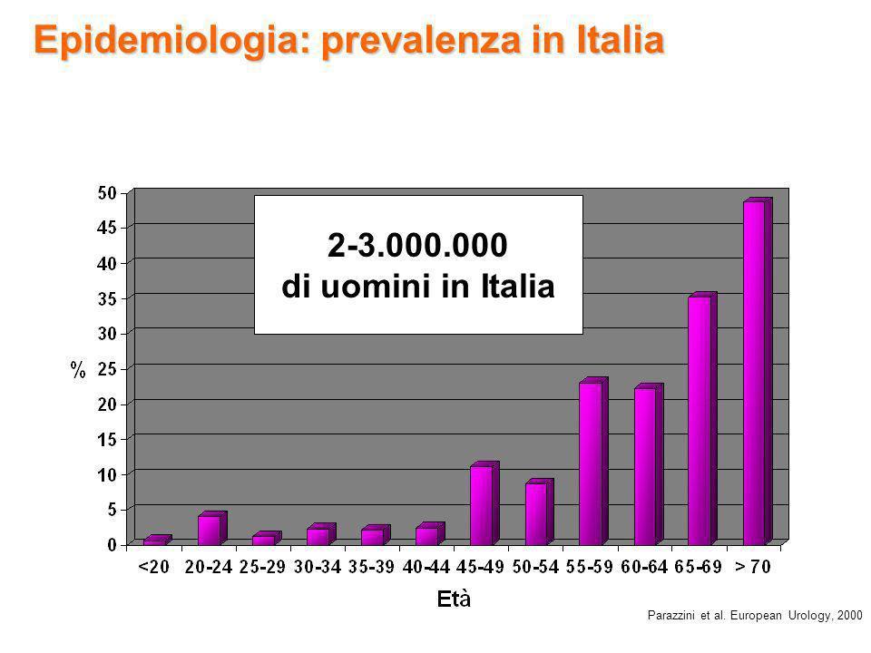 Epidemiologia: prevalenza in Italia Parazzini et al. European Urology, 2000 12.8% 2-3.000.000 di uomini in Italia