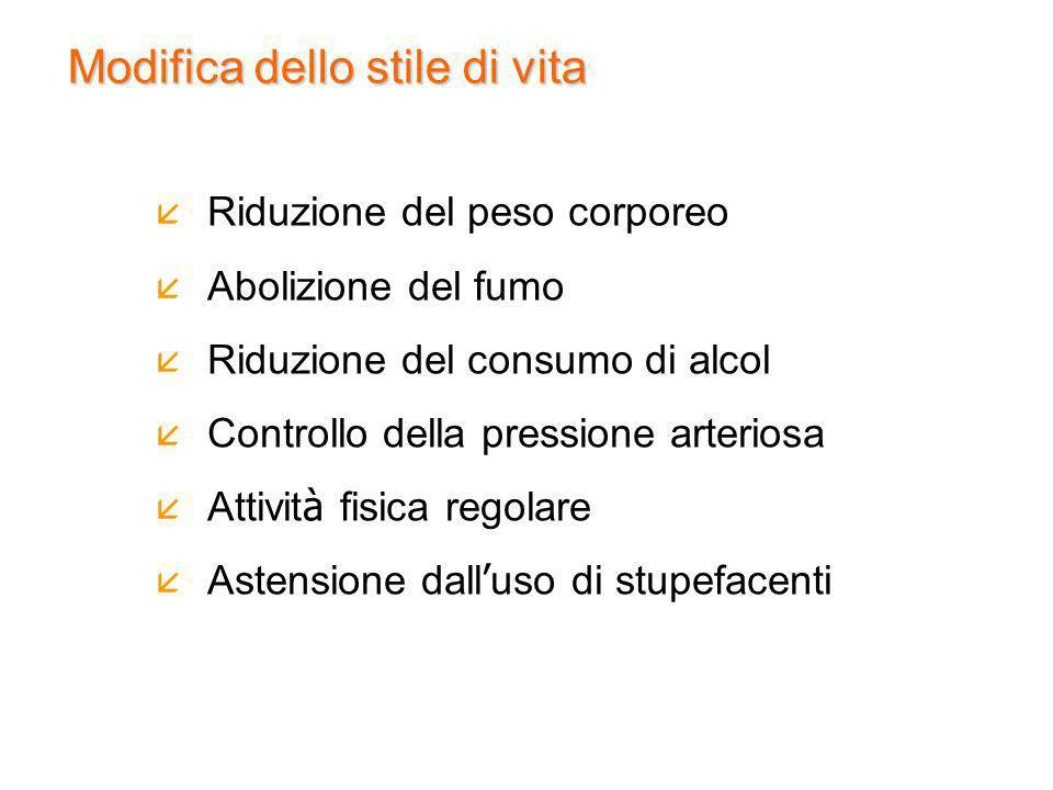 Riduzione del peso corporeo Abolizione del fumo Riduzione del consumo di alcol Controllo della pressione arteriosa Attivit à fisica regolare Astension