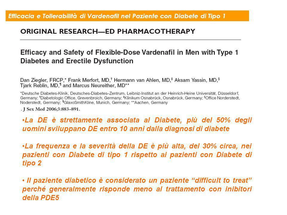 Efficacia e Tollerabilità di Vardenafil nel Paziente con Diabete di Tipo 1 La DE è strettamente associata al Diabete, più del 50% degli uomini svilupp