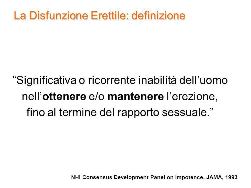 La Disfunzione Erettile: definizione NHI Consensus Development Panel on Impotence, JAMA, 1993 Significativa o ricorrente inabilità delluomo nellottene