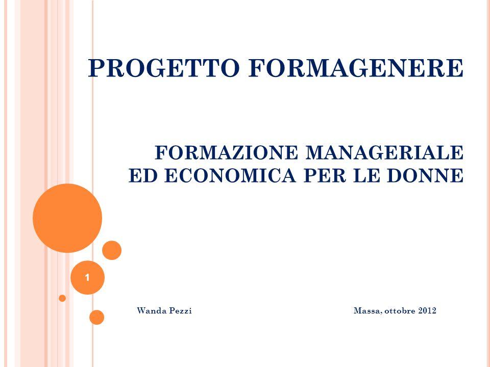 PROGETTO FORMAGENERE FORMAZIONE MANAGERIALE ED ECONOMICA PER LE DONNE Wanda Pezzi Massa, ottobre 2012 1
