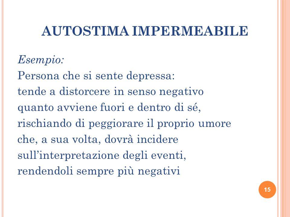 AUTOSTIMA IMPERMEABILE Esempio: Persona che si sente depressa: tende a distorcere in senso negativo quanto avviene fuori e dentro di sé, rischiando di