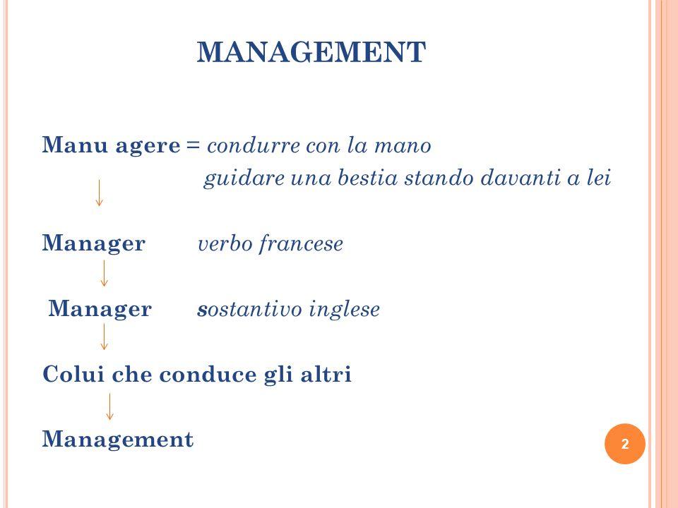 MANAGEMENT Manu agere = condurre con la mano guidare una bestia stando davanti a lei Manager verbo francese Manager s ostantivo inglese Colui che cond