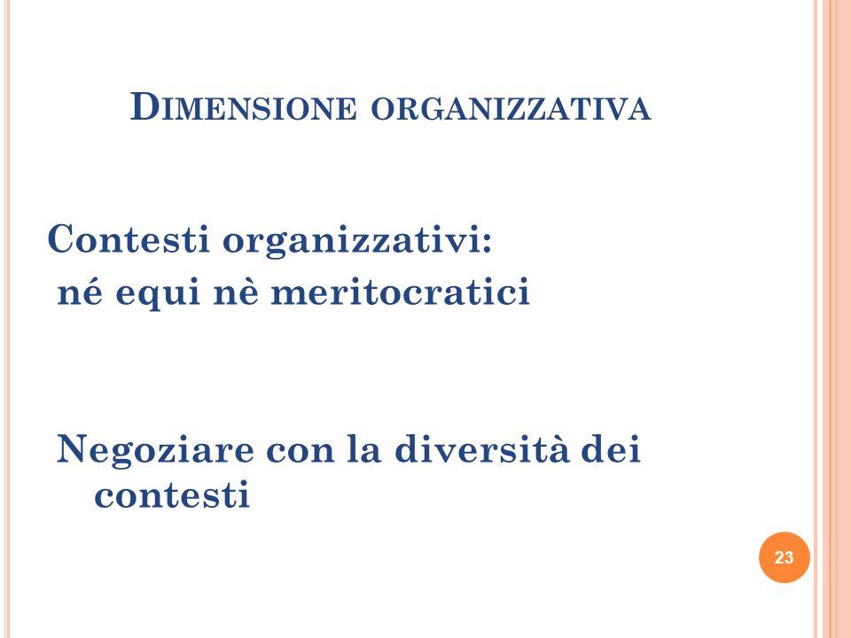 23 D IMENSIONE ORGANIZZATIVA Contesti organizzativi: né equi nè meritocratici Negoziare con la diversità dei contesti