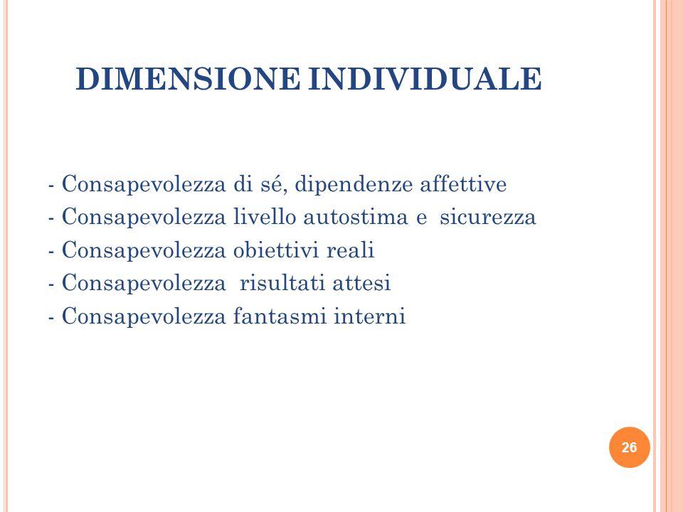 DIMENSIONE INDIVIDUALE - Consapevolezza di sé, dipendenze affettive - Consapevolezza livello autostima e sicurezza - Consapevolezza obiettivi reali -