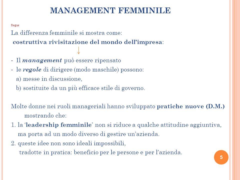 MANAGEMENT FEMMINILE Segue La differenza femminile si mostra come: costruttiva rivisitazione del mondo dellimpresa : - Il management può essere ripens