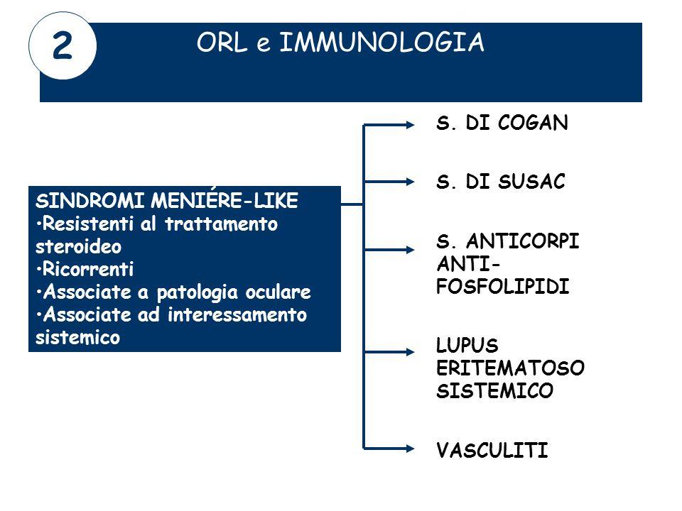 ORL e IMMUNOLOGIA SINDROMI MENIÉRE-LIKE Resistenti al trattamento steroideo Ricorrenti Associate a patologia oculare Associate ad interessamento siste
