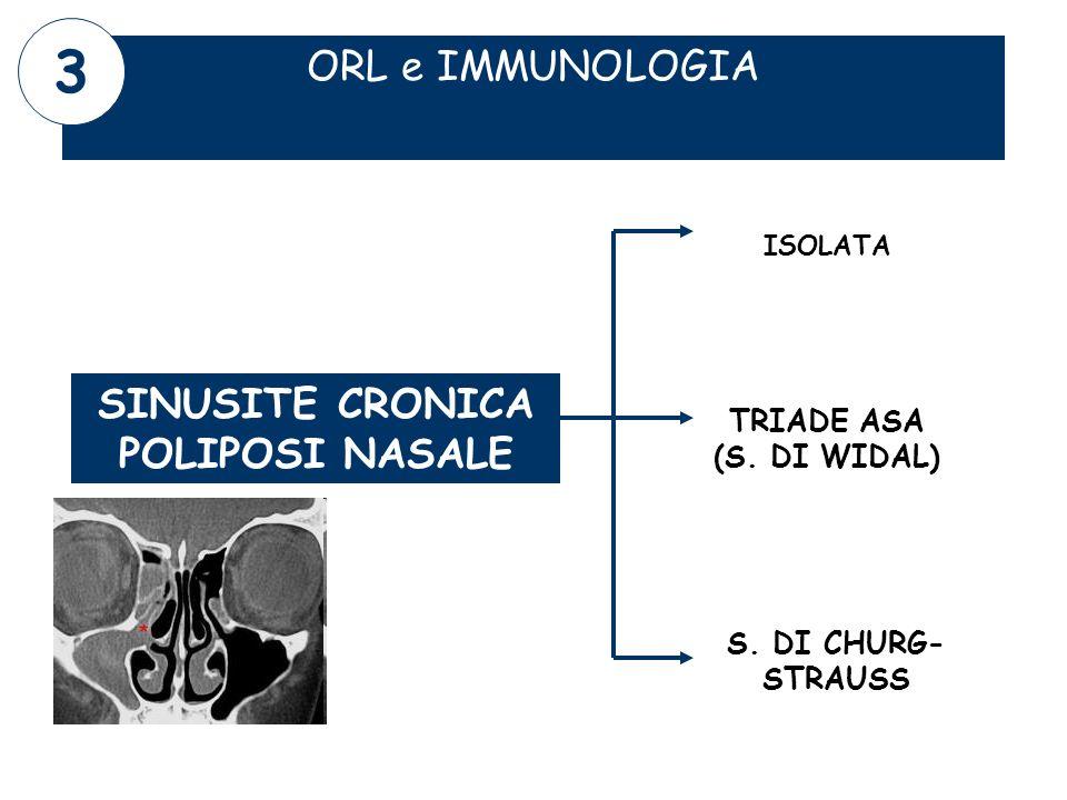 ORL e IMMUNOLOGIA SINUSITE CRONICA POLIPOSI NASALE ISOLATA S. DI CHURG- STRAUSS TRIADE ASA (S. DI WIDAL) 3