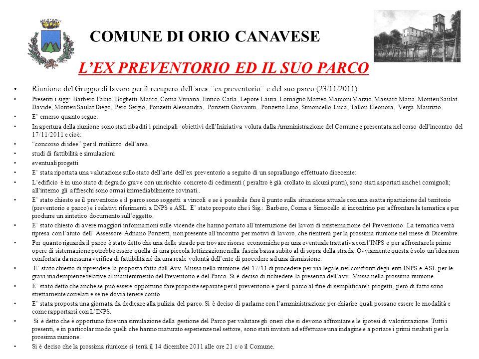COMUNE DI ORIO CANAVESE LEX PREVENTORIO ED IL SUO PARCO Riunione del Gruppo di lavoro per il recupero dellarea ex preventorio e del suo parco.(23/11/2