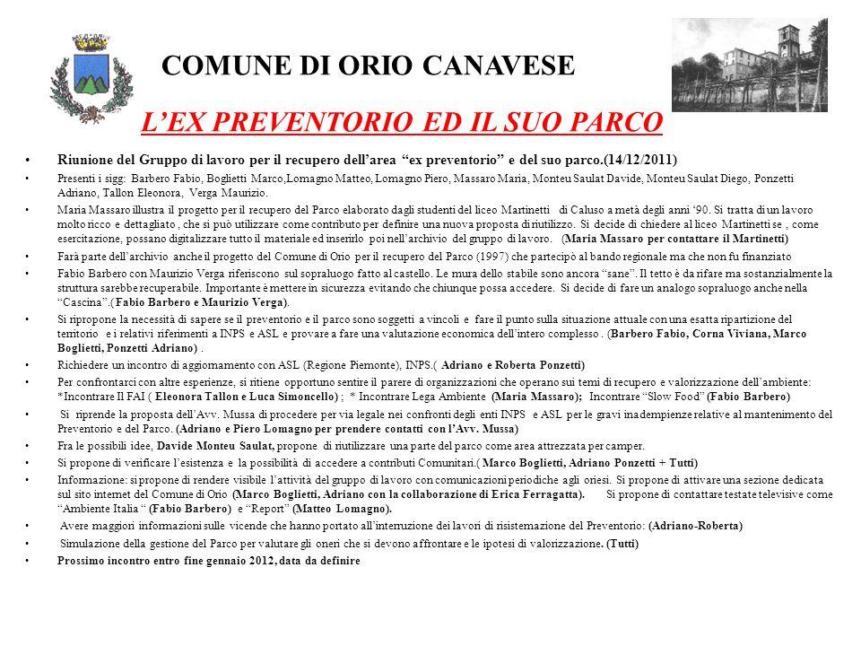 COMUNE DI ORIO CANAVESE LEX PREVENTORIO ED IL SUO PARCO Riunione del Gruppo di lavoro per il recupero dellarea ex preventorio e del suo parco.(14/12/2