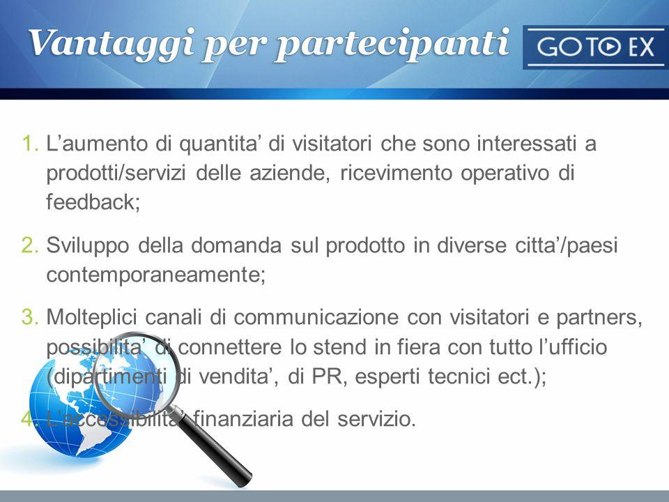 1.Laumento di quantita di visitatori che sono interessati a prodotti/servizi delle aziende, ricevimento operativo di feedback; 2.Sviluppo della domand