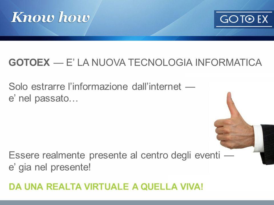 GOTOEX e il hardware-software complesso che permette di visitare fiere e musei di tutto il mondo tramite lInternet Lo scopo di GOTOEX e l accesso online di un numero illimitato di utenti sulle esposizioni di una fiera (incluso mostre museali) nello stesso tempo che si svolge indipendentemente dal paese