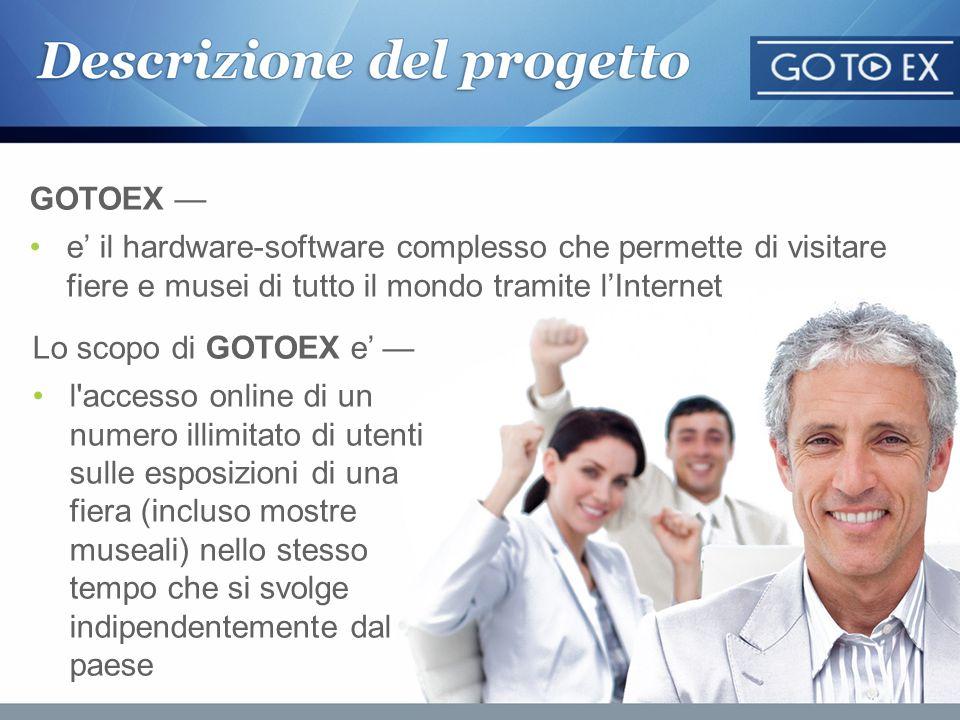 GOTOEX e il hardware-software complesso che permette di visitare fiere e musei di tutto il mondo tramite lInternet Lo scopo di GOTOEX e l'accesso onli