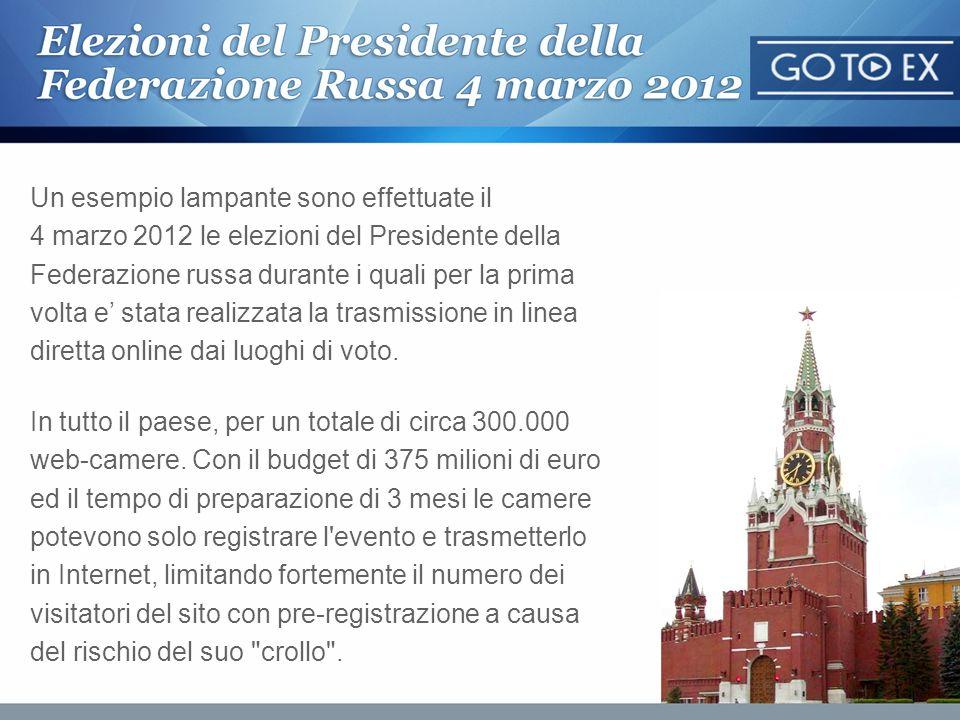Un esempio lampante sono effettuate il 4 marzo 2012 le elezioni del Presidente della Federazione russa durante i quali per la prima volta e stata real