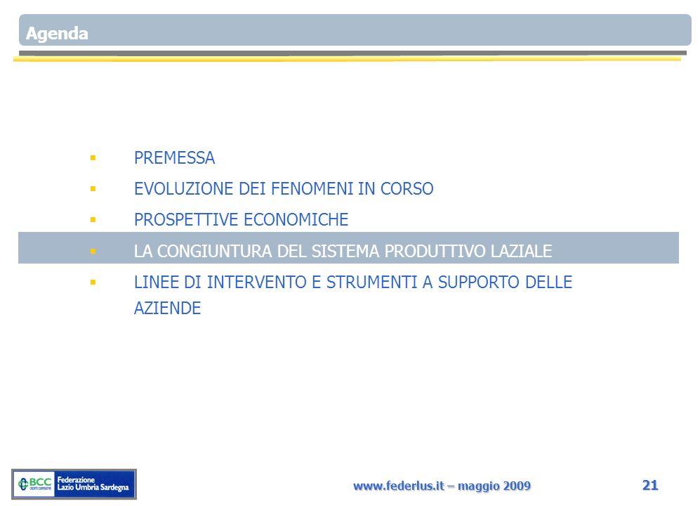 www.federlus.it – maggio 2009 21 Agenda PREMESSA EVOLUZIONE DEI FENOMENI IN CORSO PROSPETTIVE ECONOMICHE LA CONGIUNTURA DEL SISTEMA PRODUTTIVO LAZIALE LINEE DI INTERVENTO E STRUMENTI A SUPPORTO DELLE AZIENDE