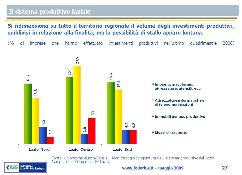 www.federlus.it – maggio 2009 27 Si ridimensiona su tutto il territorio regionale il volume degli investimenti produttivi, suddivisi in relazione alla finalità, ma la possibilità di stallo appare lontana.