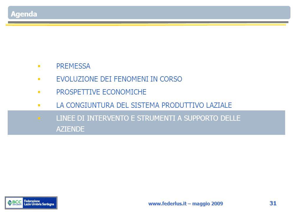 www.federlus.it – maggio 2009 31 Agenda PREMESSA EVOLUZIONE DEI FENOMENI IN CORSO PROSPETTIVE ECONOMICHE LA CONGIUNTURA DEL SISTEMA PRODUTTIVO LAZIALE LINEE DI INTERVENTO E STRUMENTI A SUPPORTO DELLE AZIENDE