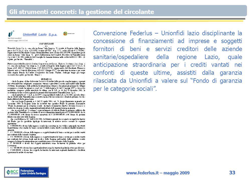 www.federlus.it – maggio 2009 33 Gli strumenti concreti: la gestione del circolante Convenzione Federlus – Unionfidi lazio disciplinante la concession