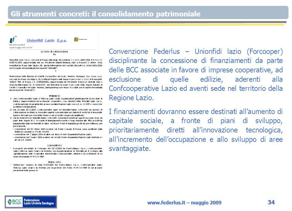www.federlus.it – maggio 2009 34 Gli strumenti concreti: il consolidamento patrimoniale Convenzione Federlus – Unionfidi lazio (Forcooper) disciplinan
