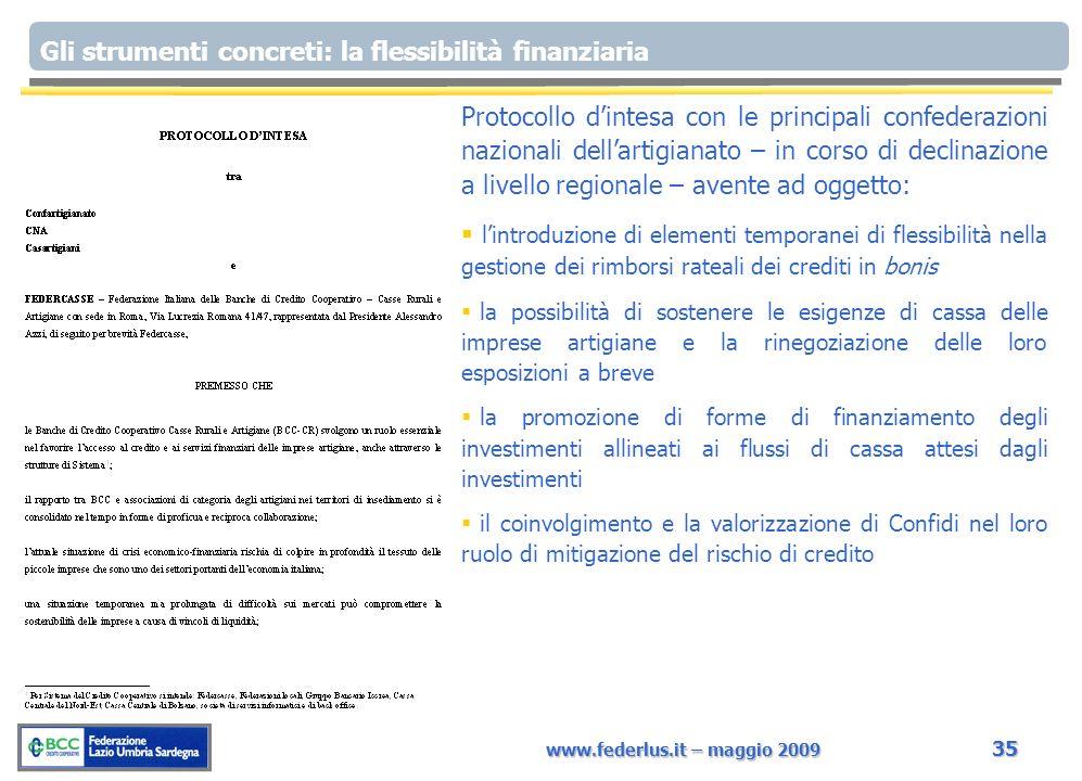 www.federlus.it – maggio 2009 35 Gli strumenti concreti: la flessibilità finanziaria Protocollo dintesa con le principali confederazioni nazionali del
