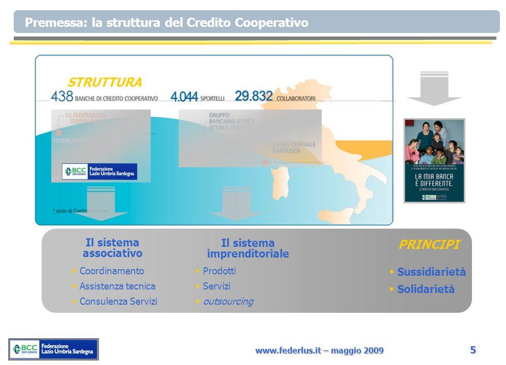 www.federlus.it – maggio 2009 5 STRUTTURA Il sistema imprenditoriale Il sistema associativo Coordinamento Assistenza tecnica Consulenza Servizi Prodotti Servizi outsourcing Sussidiarietà Solidarietà PRINCIPI Premessa: la struttura del Credito Cooperativo