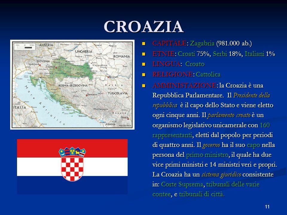 11 CROAZIA CAPITALE: Zagabria (981.000 ab.) ETNIE: Croati 75%, Serbi 18%, Italiani 1% LINGUA: Croato RELIGIONE: Cattolica AMMINISTAZIONE: la Croazia è