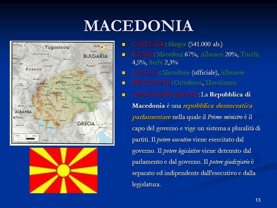 13 MACEDONIA CAPITALE: Skopje (541.000 ab.) ETNIE: Macedoni 67%, Albanesi 20%, Turchi 4,5%, Serbi 2,3% LINGUA: Macedone (ufficiale), Albanese RELIGION