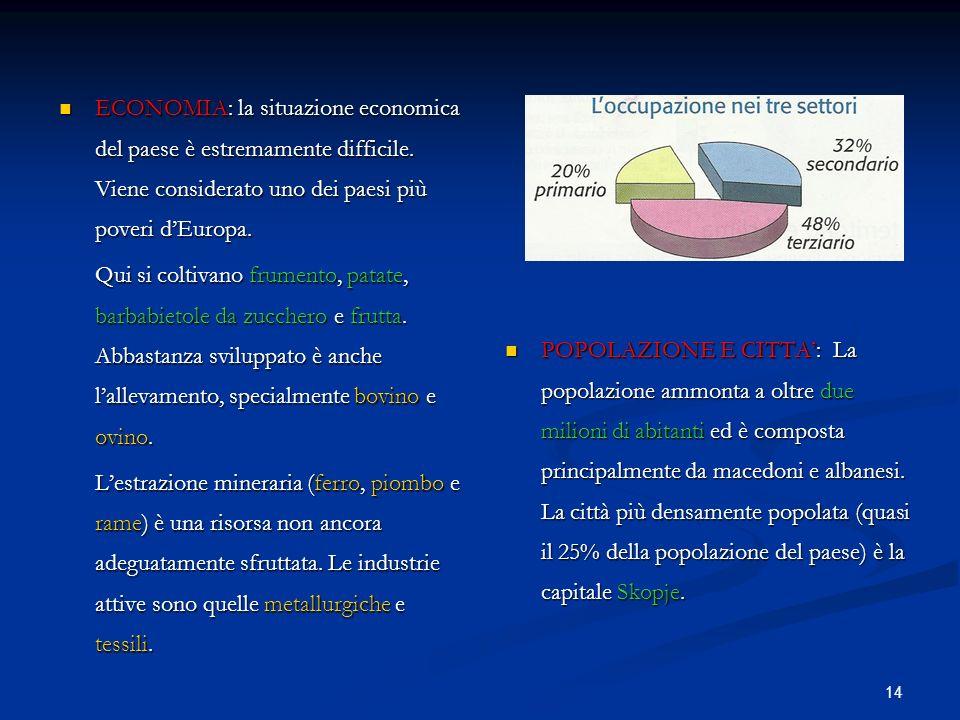 14 ECONOMIA: la situazione economica del paese è estremamente difficile. Viene considerato uno dei paesi più poveri dEuropa. ECONOMIA: la situazione e