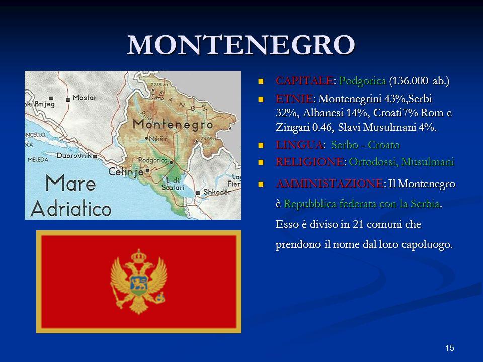 15 MONTENEGRO CAPITALE: Podgorica (136.000 ab.) ETNIE: Montenegrini 43%,Serbi 32%, Albanesi 14%, Croati7% Rom e Zingari 0.46, Slavi Musulmani 4%. LING