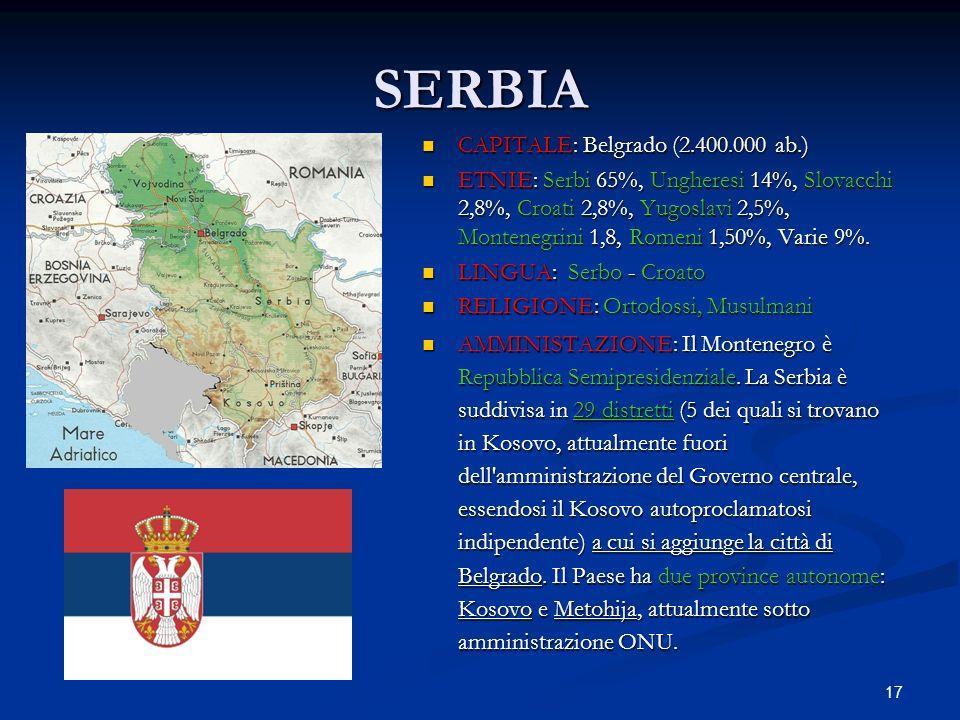 17 SERBIA CAPITALE: Belgrado (2.400.000 ab.) ETNIE: Serbi 65%, Ungheresi 14%, Slovacchi 2,8%, Croati 2,8%, Yugoslavi 2,5%, Montenegrini 1,8, Romeni 1,