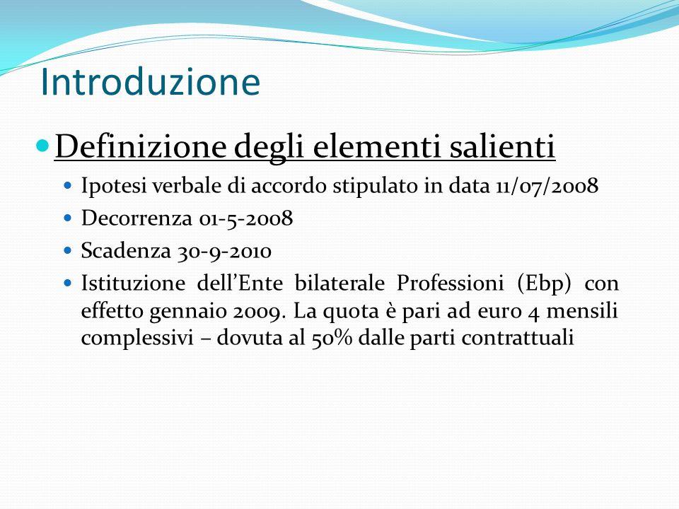 Introduzione Definizione degli elementi salienti Ipotesi verbale di accordo stipulato in data 11/07/2008 Decorrenza 01-5-2008 Scadenza 30-9-2010 Istit