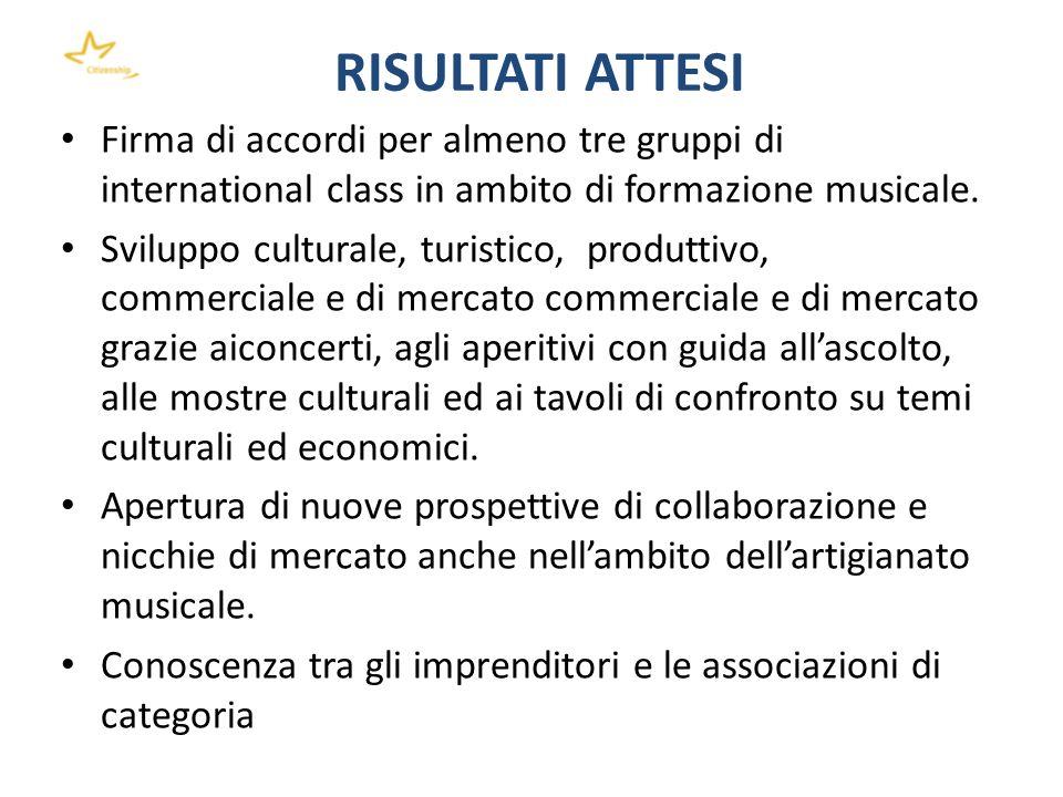 RISULTATI ATTESI Firma di accordi per almeno tre gruppi di international class in ambito di formazione musicale. Sviluppo culturale, turistico, produt