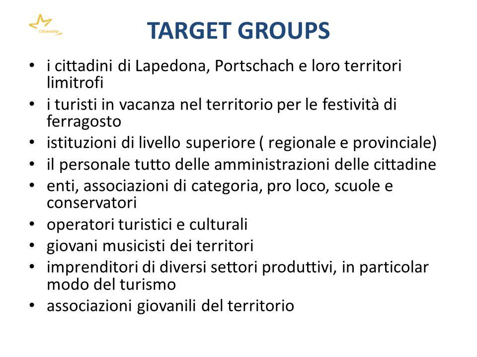 TARGET GROUPS i cittadini di Lapedona, Portschach e loro territori limitrofi i turisti in vacanza nel territorio per le festività di ferragosto istitu