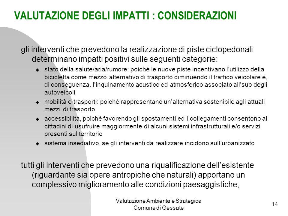 Obiettivo 1 Valutazione Ambientale Strategica Comune di Gessate 15