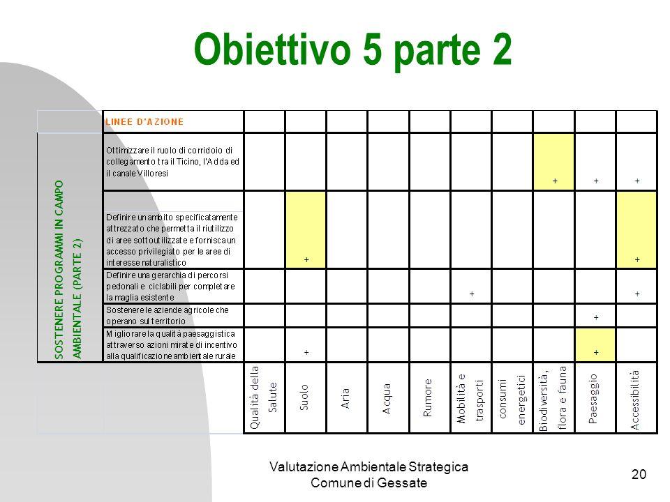 Obiettivo 6 Valutazione Ambientale Strategica Comune di Gessate 21