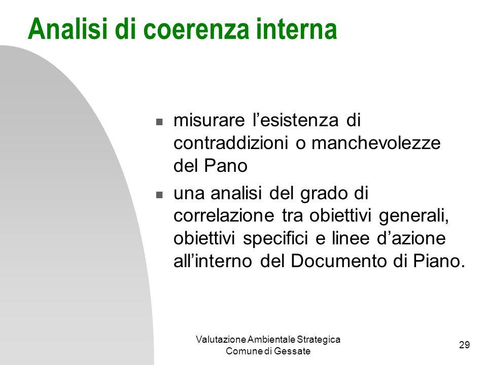 Analisi di coerenza interna struttura del Documento di Piano Obiettivo generale n Obiettivo specifico n1 Obiettivo specifico n2 Obiettivo specifico n3 Linea dazione l1 Linea dazione l2 Valutazione Ambientale Strategica Comune di Gessate 30