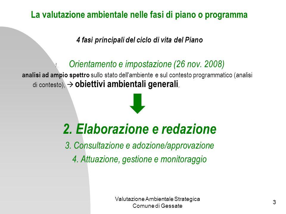 Valutazione Ambientale Strategica Comune di Gessate 4 elaborazione e redazione Rapporto Ambientale e Sintesi non Tecnica analisi di coerenza esterna.