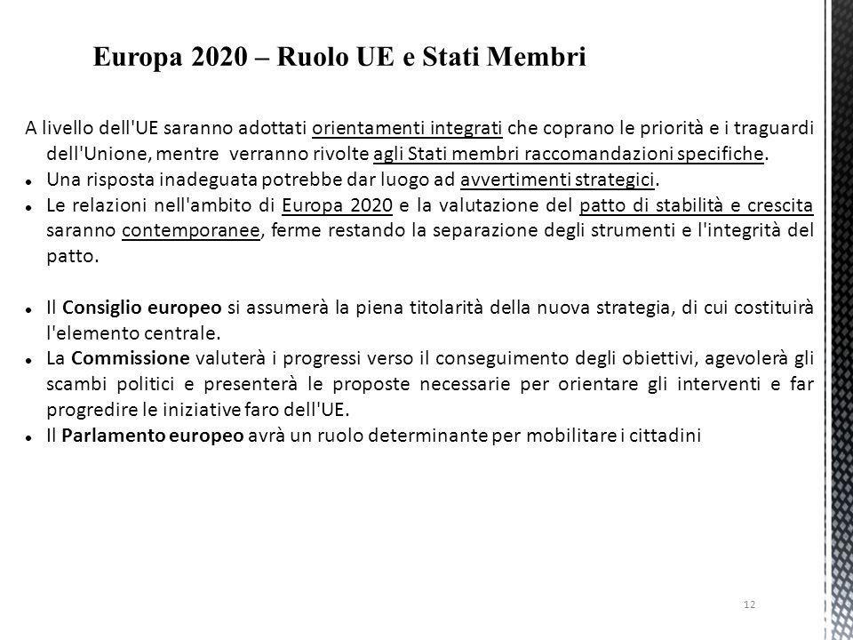 12 A livello dell'UE saranno adottati orientamenti integrati che coprano le priorità e i traguardi dell'Unione, mentre verranno rivolte agli Stati mem