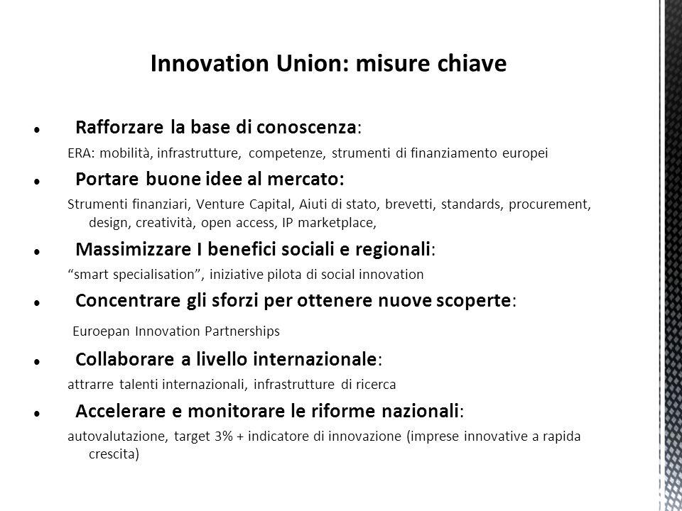 Innovation Union: misure chiave Rafforzare la base di conoscenza: ERA: mobilità, infrastrutture, competenze, strumenti di finanziamento europei Portar