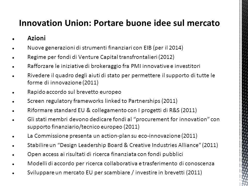 Innovation Union: Portare buone idee sul mercato Azioni Nuove generazioni di strumenti finanziari con EIB (per il 2014) Regime per fondi di Venture Ca