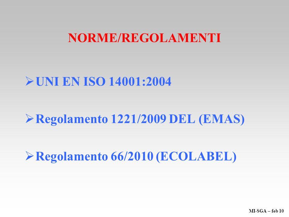 NORME/REGOLAMENTI UNI EN ISO 14001:2004 Regolamento 1221/2009 DEL (EMAS) Regolamento 66/2010 (ECOLABEL) MI-SGA – feb 10