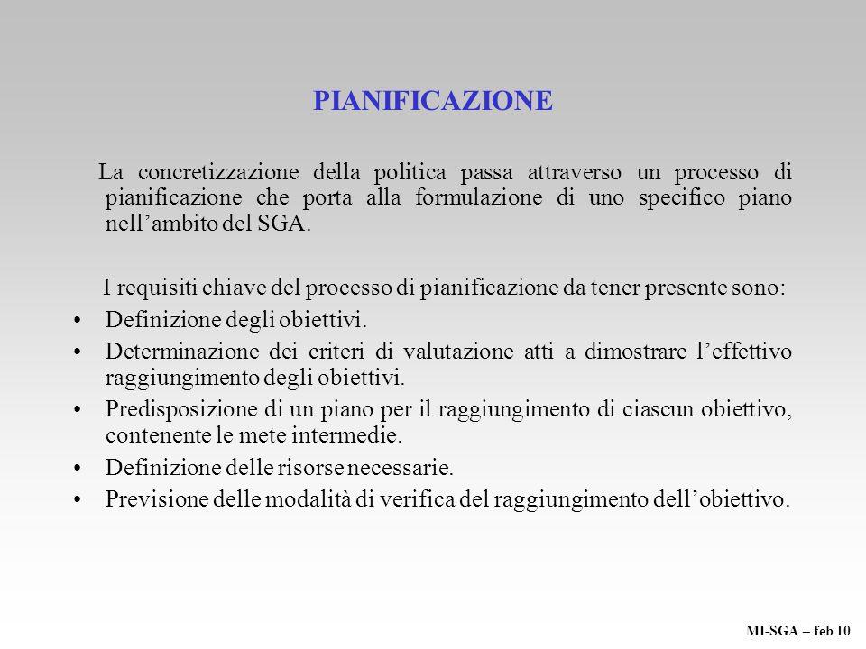 PIANIFICAZIONE La concretizzazione della politica passa attraverso un processo di pianificazione che porta alla formulazione di uno specifico piano ne