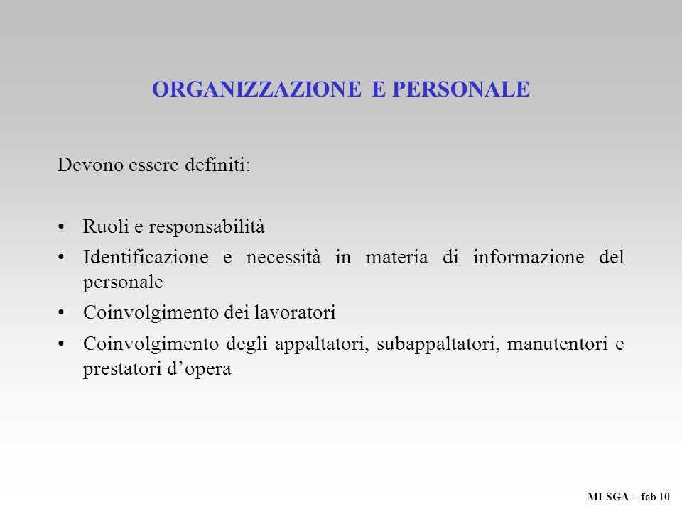 ORGANIZZAZIONE E PERSONALE Devono essere definiti: Ruoli e responsabilità Identificazione e necessità in materia di informazione del personale Coinvol