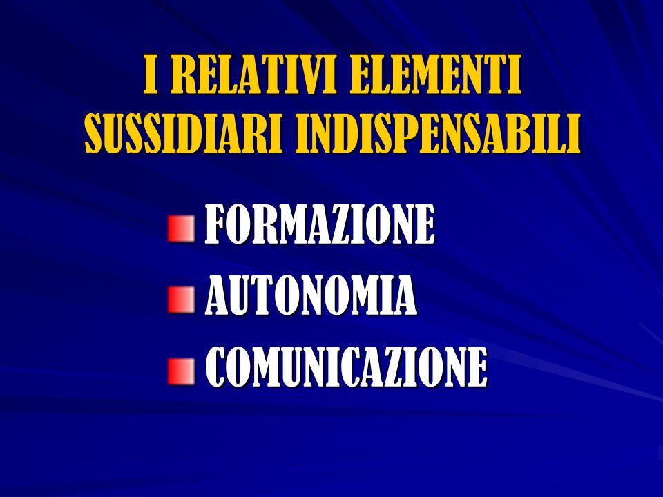 FORMAZIONEAUTONOMIACOMUNICAZIONE I RELATIVI ELEMENTI SUSSIDIARI INDISPENSABILI