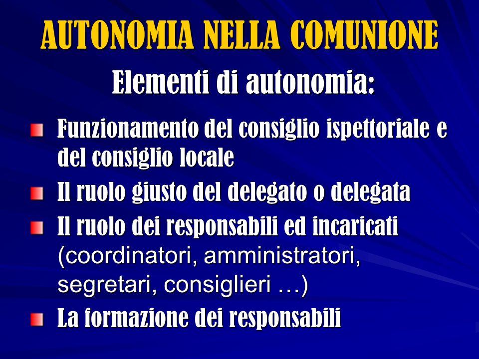 Elementi di autonomia: Funzionamento del consiglio ispettoriale e del consiglio locale Il ruolo giusto del delegato o delegata Il ruolo dei responsabili ed incaricati (coordinatori, amministratori, segretari, consiglieri …) La formazione dei responsabili AUTONOMIA NELLA COMUNIONE
