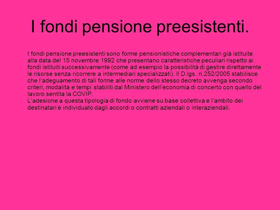 I fondi pensione preesistenti. I fondi pensione preesistenti sono forme pensionistiche complementari già istituite alla data del 15 novembre 1992 che