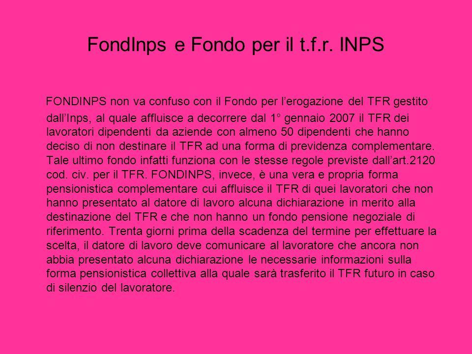 FondInps e Fondo per il t.f.r. INPS FONDINPS non va confuso con il Fondo per lerogazione del TFR gestito dallInps, al quale affluisce a decorrere dal