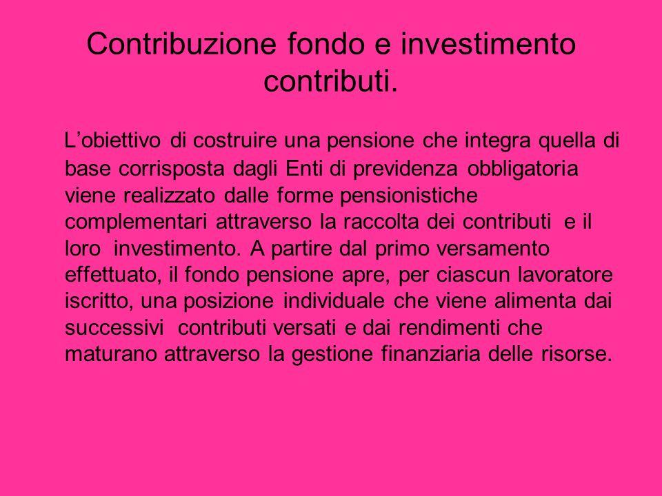 Contribuzione fondo e investimento contributi. Lobiettivo di costruire una pensione che integra quella di base corrisposta dagli Enti di previdenza ob